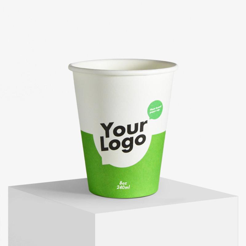 240 ml enkeltlag pappkrus med dit logo tryk