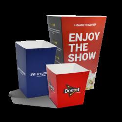 Popcornbeger med eget trykk