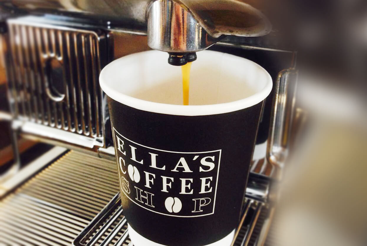 Ellas coffee shop cup with print